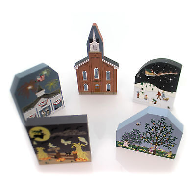 Cats Meow Village 1996 COLLECTORS CLUB SET / 5 Limited 1996 Rare Holiday 1996