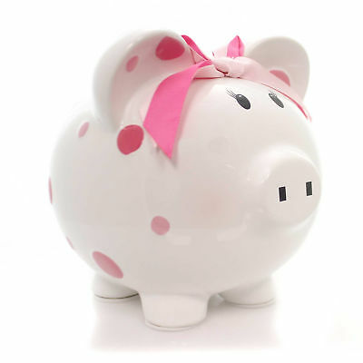 Bank PINK MULTI DOT BANK Ceramic Bow Save Money Girl 3606Pk