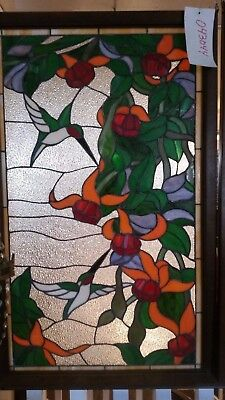 Glass Window Stained Leaded Wood Frame Hanging 2 Birds w/ Flowers