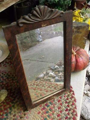 Lovely Primitive Antique Beveled Glass Wall Mirror Tiger Oak Grained Wood Frame