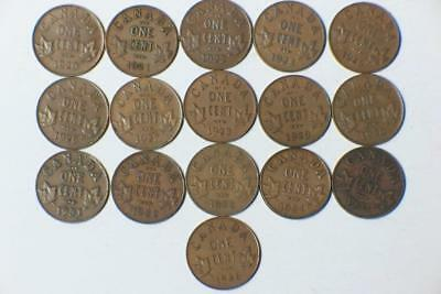 16 COINS 16 DIFFERENT DATES SMALL CANADIAN CENTS 1920-23 1925-36 #3342 glcm