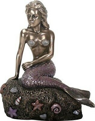 The Enchanted Mermaid Sitting on Rock Bronze Look Statue Figurine Sculpture New