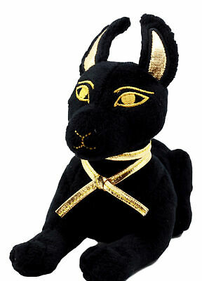 Small Black & Gold Egyptian God Of Afterlife Anubis Dog Plush Toy Soft Doll