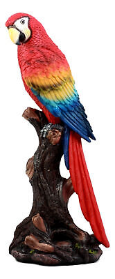 Egift Home Decor Bird Scarlet Macaw Parrot Perching On Branch Statue Figurine