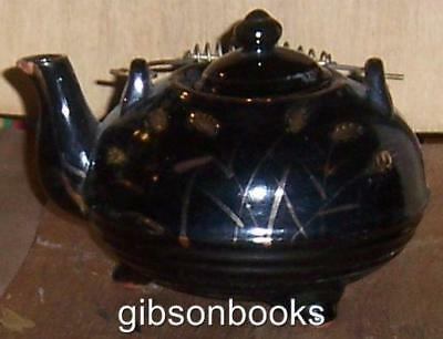 Vintage Redware Japan Pottery Tea Pot with Gold Decoration and Wire Handle
