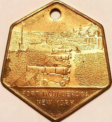 Brass Military Watch Key Fob Medal FORT TICONDEROGA NY CANNONS GOOD LUCK Token