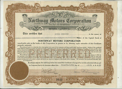 1919 Northway Motors Corporation Massachusetts Stock Certificate