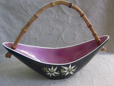 vintage retro STUDIO ANNA Boomerang shaped CANE HANDLED BASKET Flannel Flowers