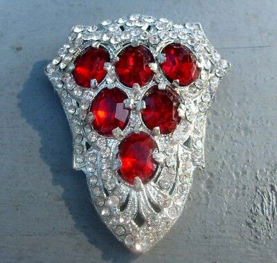 Exquisite Vintage Fur/dress Clip-Pat # 1801128- Large Ruby Glass & Clear Rhines
