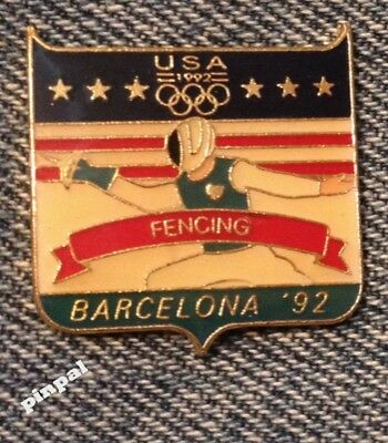 Fencing Olympic Pin ~ 1992 Barcelona Summer Games ~ USA Team ~ Fundraising
