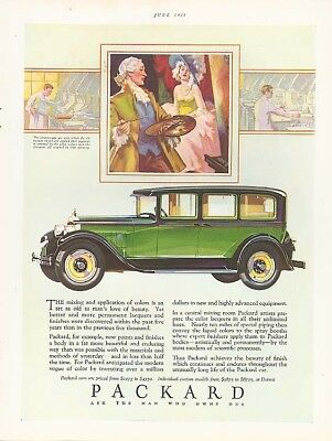 Mixing & application of colors - Packard 4-dr ad 1928