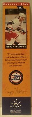 WINNIPEG JETS Readers Club BOOKMARK Hockey BOOKS Education NHL Teppo Numminen