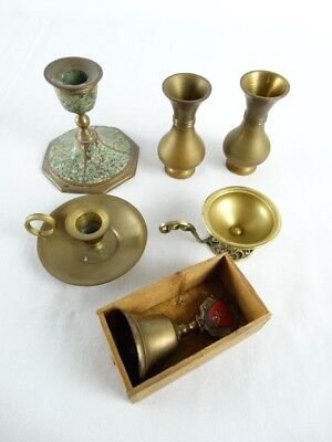 Bulk lot of Brassware inc Pair Vase English Bell in old box Candle Holders