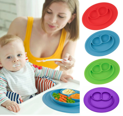Kids Cute Silicone Happy Mat Baby Suction Table Food Tray Placemat Plate Bowl