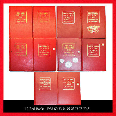 Red Book Hardcover (10 Books) A Guide Book Of Us Coins The Official Red Book