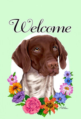 Large Indoor/Outdoor Welcome Flag (Flowers) - German Shorthaired Pointer 63049