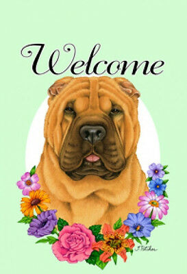 Large Indoor/Outdoor Welcome Flag (Flowers) - Shar Pei 63053
