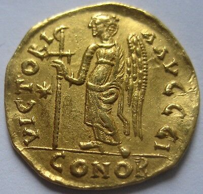 """STRAORDINARY GOLD BYZANTINE COIN from 1 $ ANASTASIUS I 491-518  SOLIDUS """"Victory"""