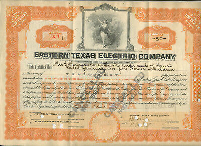 1929 Eastern Texas Electric Company Stock Certificate