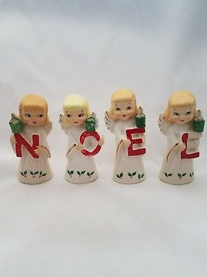 Vintage Set of Porcelain NOEL Angels Old Christmas, Made in Japan