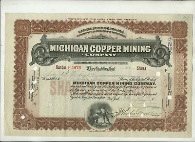 1907 Michigan Copper Mining Company Michigan Stock Certificate