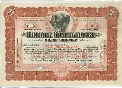 1909 Hancock Consolidated Mining Company Michigan Stock Certificate