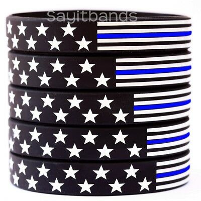 5 US Flag Stars & Stripes Wristbands Featuring Thin Blue Line USA Bracelet Bands