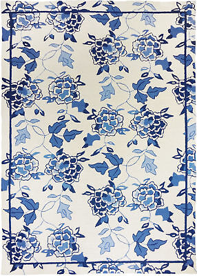 Charlton Home Dellroy Floral Repeat White/Blue Area Rug