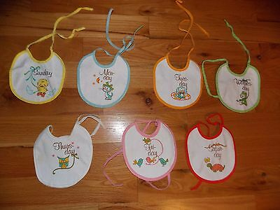 Day of Week Baby Bib Set Cat Dog Owl Turtle