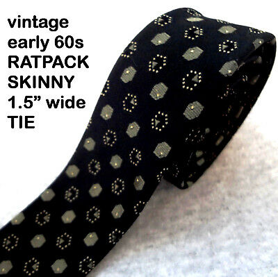 60s VINTAGE RATPACK TIE Black ATOMIC EAMES MID-CENTURY Great Graphics SKINNY