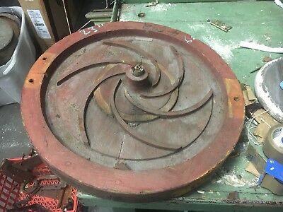 "c1940's shipyard WOODEN factory mold - RED circle w/spiral detail - 23"" dia"