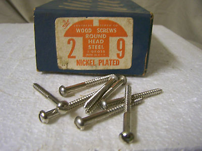 "#9 x 2"" Nickel Plated Wood Screws Round Head Slotted Qty. 135"