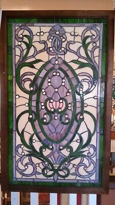 Glass Window - Stained Leaded Wood Frame Victorian w/ round Jewel and Green Bord