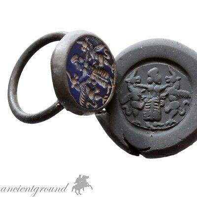 An Amazing Medieval Islamic Seal Ring With Nice Glass Stone