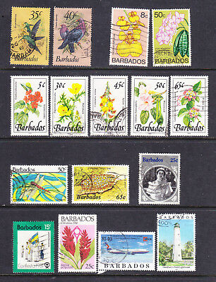 Barbados postage stamps - 16 x Used - Collection odds