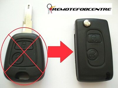 2 button flip key case upgrade for Peugeot 106 206 remote key