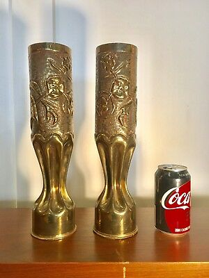 Large Antique shell casings artillery trench art brass vases pair WWI French