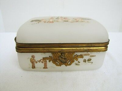 Antique 19th century French opaline glass jewelry box with hand painted Asian sc