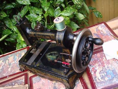 Old Vintage Antique  ATLAS Hand Crank  Sewing Machine APPROX 1880S  SEE VIDEO