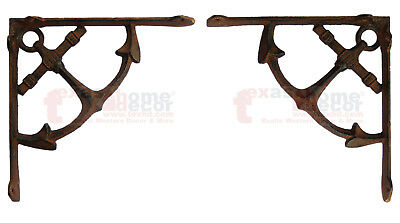 2 Rustic Cast Iron Nautical Ship Anchor Shelf Support Brackets Doorway Brace