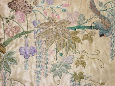 Fabulous Beautiful Antique Silk Chinese Embroidered Long Panel  ****hg***