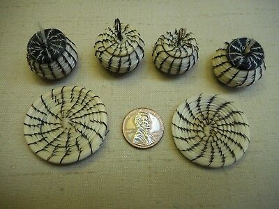 Collection of 6 Papago miniature horse hair baskets - some lidded