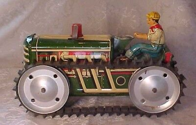 Vintage Old Antique Metal Tin Litho Marx Tractor Bulldozer Wind Up Driver Toy