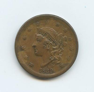 "1839 U.s. Braided Hair One Cent Ef-Au - Deep Strike, Sharp ""Liberty"""