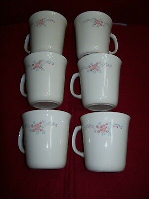 Lot of 6 RETIRED  -Corelle English Breakfast Coffee Cups- FREE SHIPPING