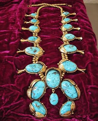 NAVAJO HUGE GOLD 14K SQUASH BLOSSOM - TURQUOISE NECKLACE by LARRY PLATERO, 715gr
