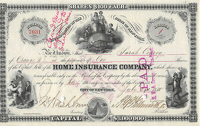 Home Insurance Company of City of New York 1880 Stock Certificate