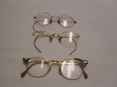 3 Pair Gold Filled Vintage Eyeglass Frames 1/10 12K For Parts Or Repair