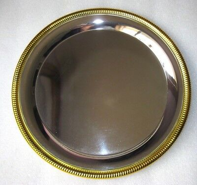 DRINK SERVER TRAY SILVER with GOLD RIM Perfect