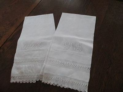 Pair Antique Damask Linen 3-Letter Monogrammed Towels Crochet Insert Pullied Hem
